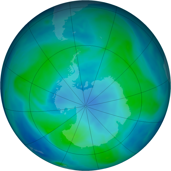 Antarctic ozone map for 05 February 2005
