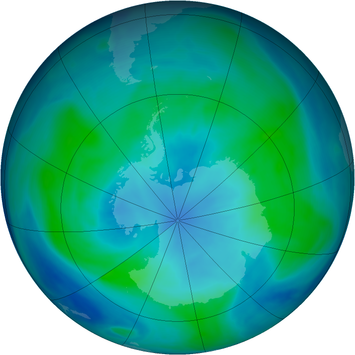 Antarctic ozone map for 06 February 2005