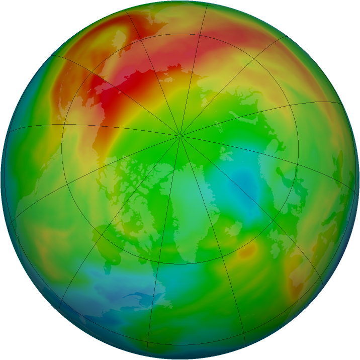 Arctic ozone map for 07 February 2005