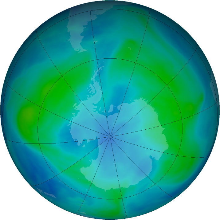 Antarctic ozone map for 07 February 2005