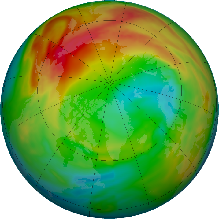 Arctic ozone map for 08 February 2005