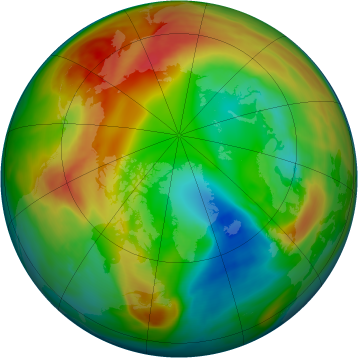 Arctic ozone map for 13 February 2005