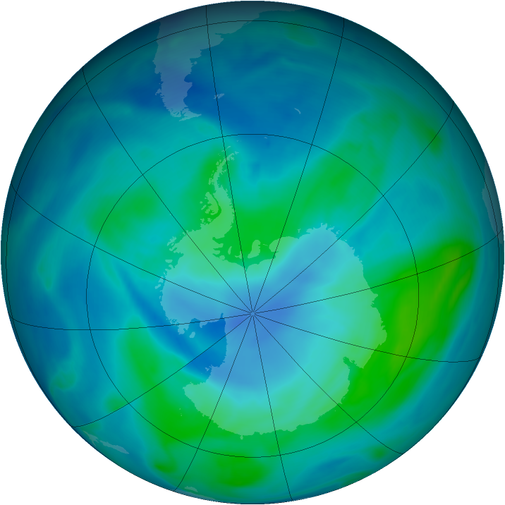 Antarctic ozone map for 15 February 2005