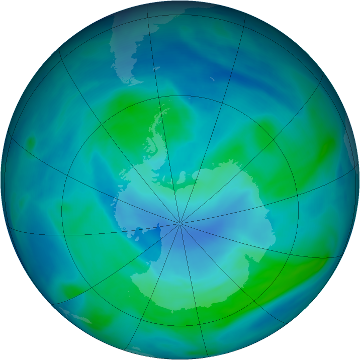 Antarctic ozone map for 17 February 2005