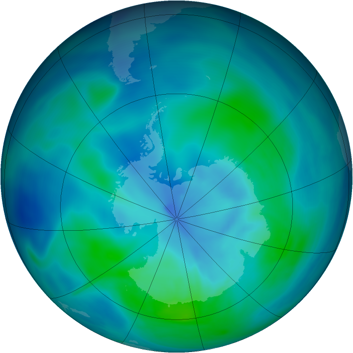 Antarctic ozone map for 21 February 2005
