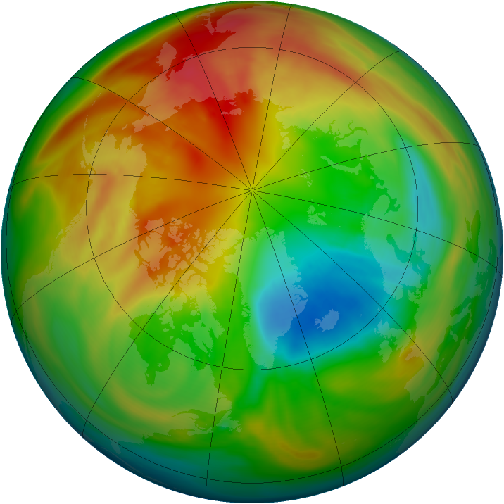 Arctic ozone map for 25 February 2005