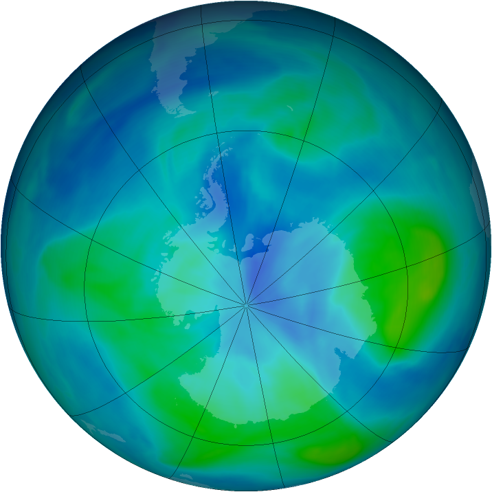 Antarctic ozone map for 26 February 2005