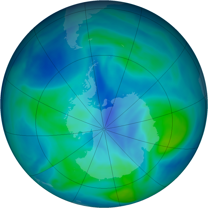 Antarctic ozone map for 27 February 2005