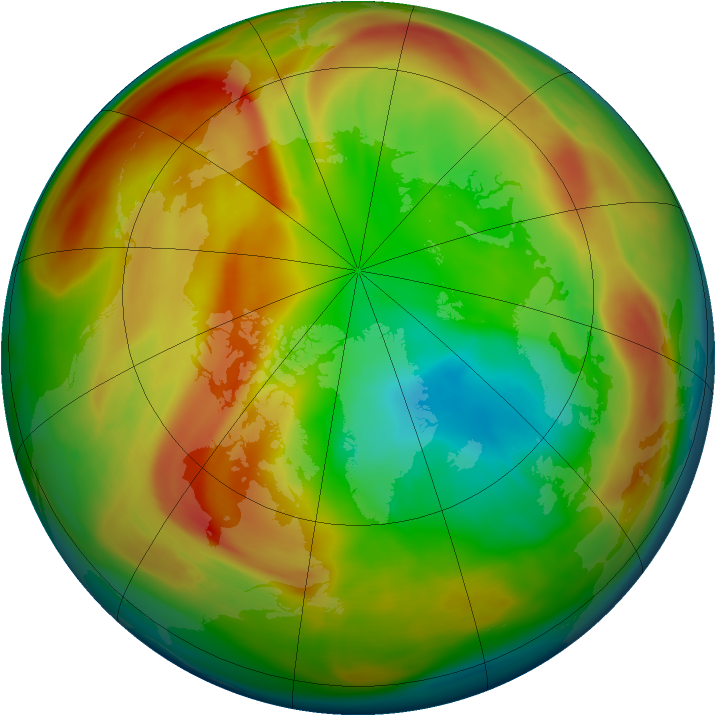 Arctic ozone map for 07 March 2005