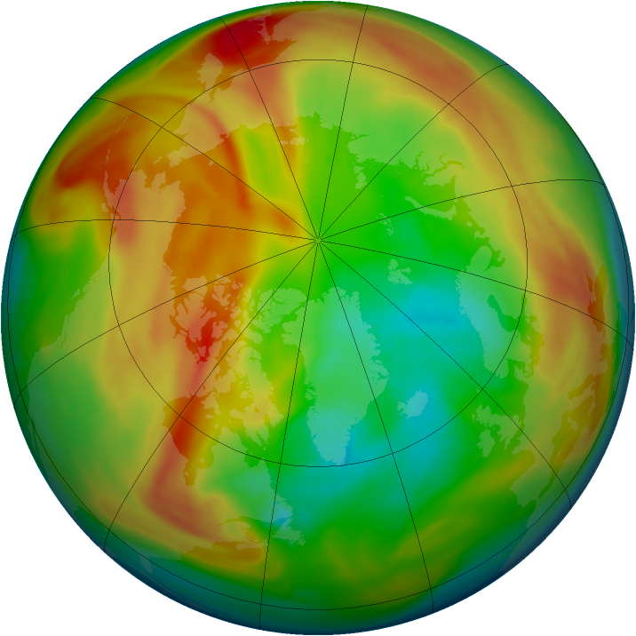 Arctic ozone map for 09 March 2005