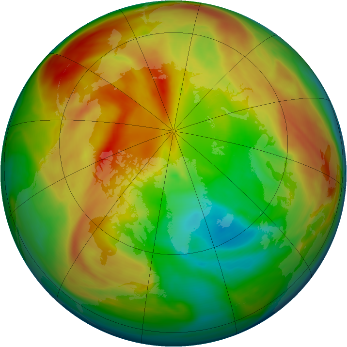 Arctic ozone map for 11 March 2005