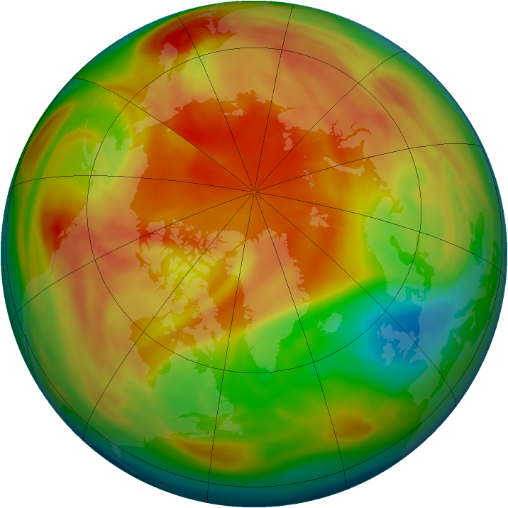 Arctic ozone map for 19 March 2005