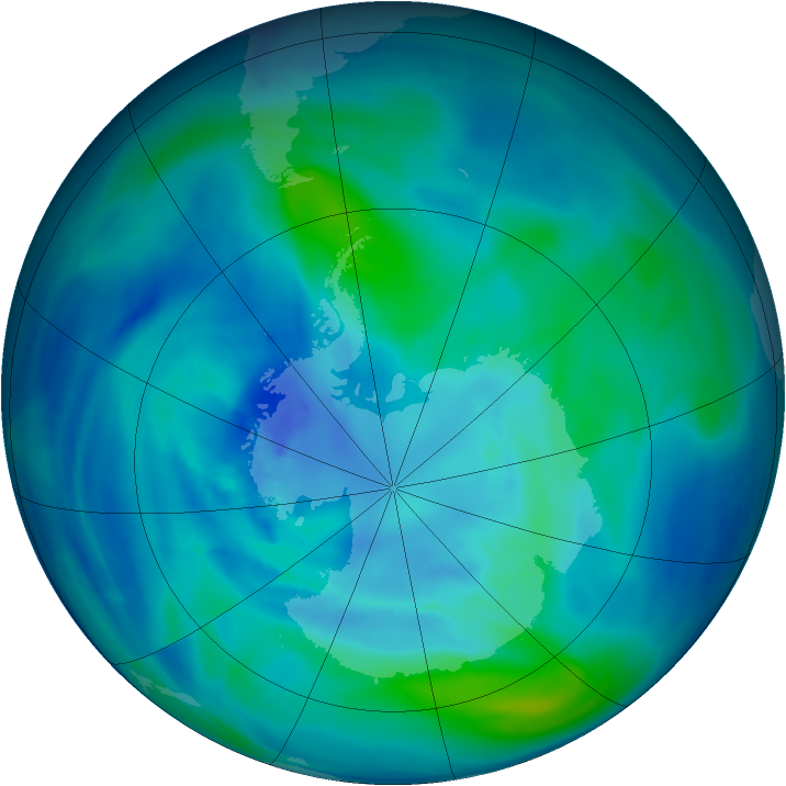 Antarctic ozone map for 28 March 2005