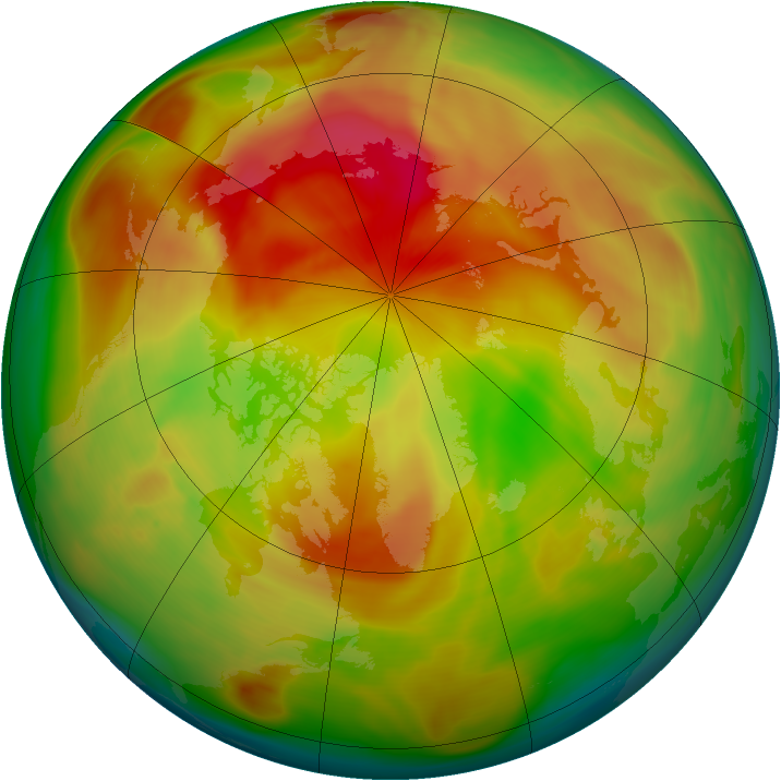 Arctic ozone map for 29 March 2005