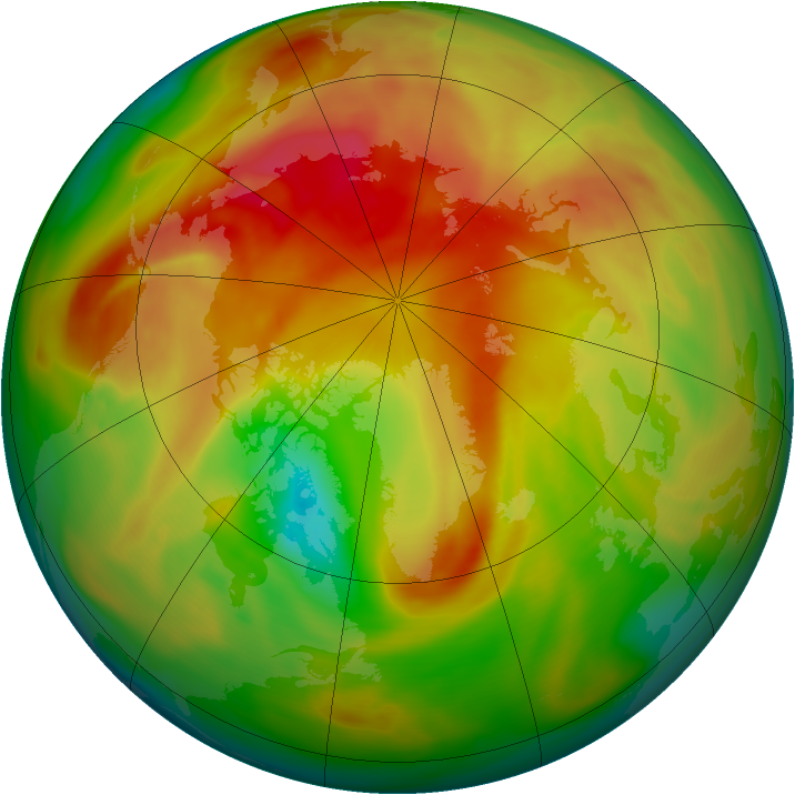 Arctic ozone map for 31 March 2005