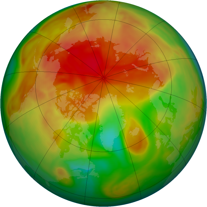 Arctic ozone map for 03 April 2005