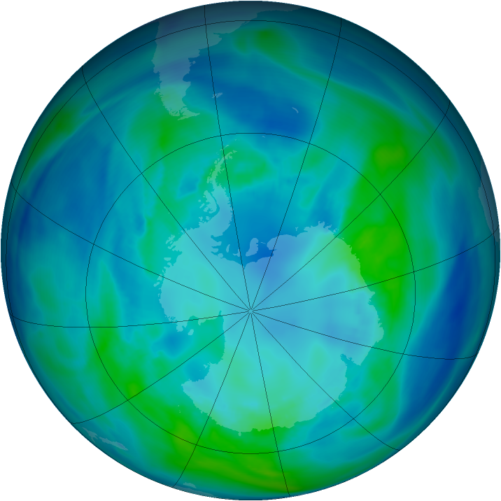 Antarctic ozone map for 16 April 2005