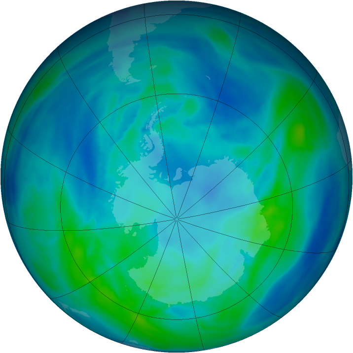 Antarctic ozone map for 17 April 2005