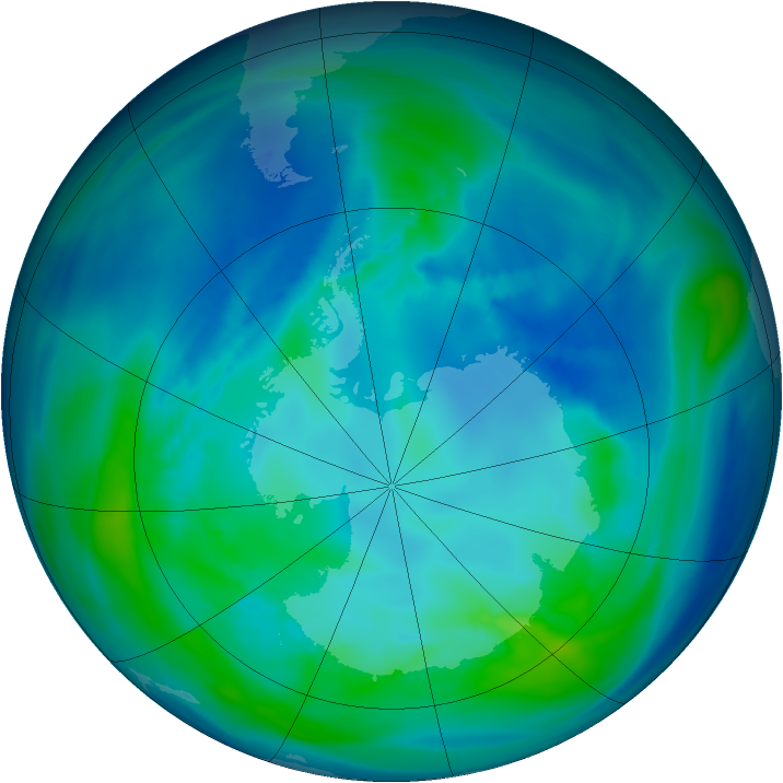 Antarctic ozone map for 19 April 2005
