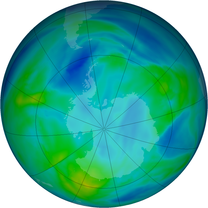 Antarctic ozone map for 06 May 2005