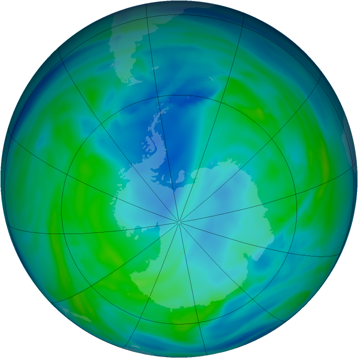 Antarctic ozone map for 08 May 2005