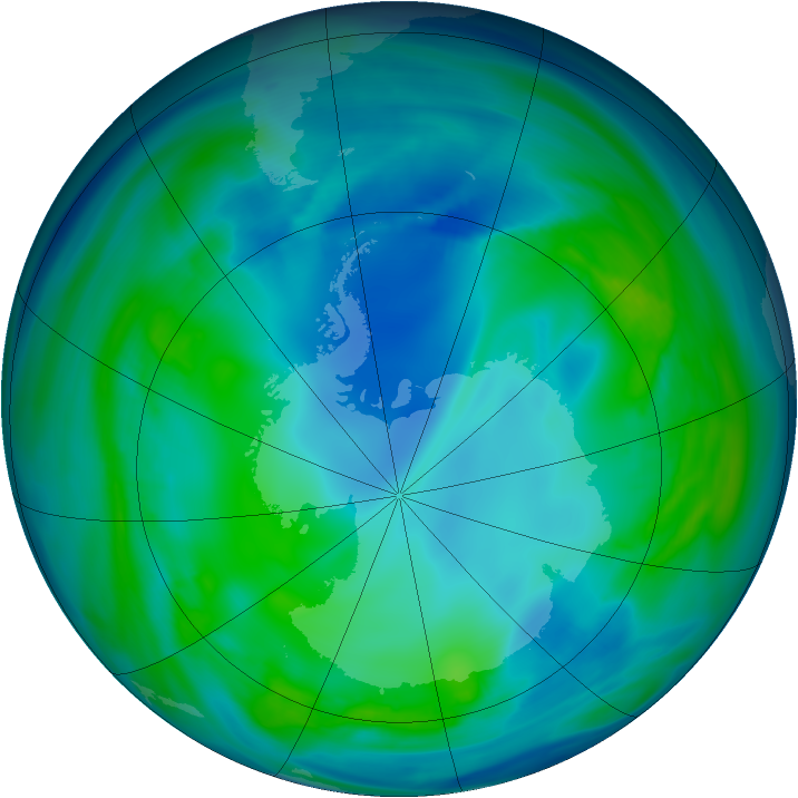 Antarctic ozone map for 09 May 2005
