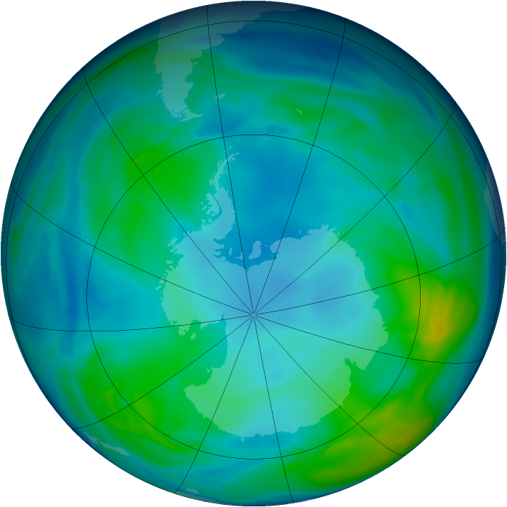 Antarctic ozone map for 14 May 2005
