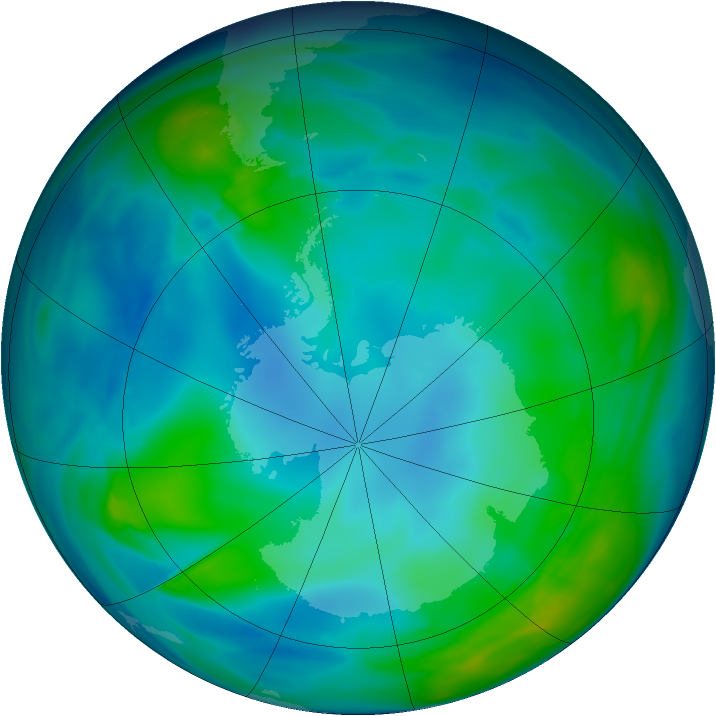 Antarctic ozone map for 16 May 2005