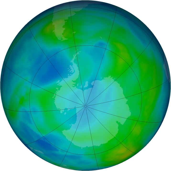 Antarctic ozone map for 18 May 2005