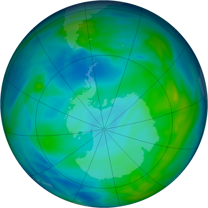 Antarctic ozone map for 19 May 2005