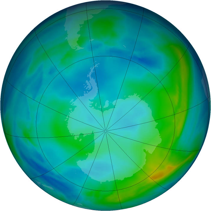 Antarctic ozone map for 21 May 2005