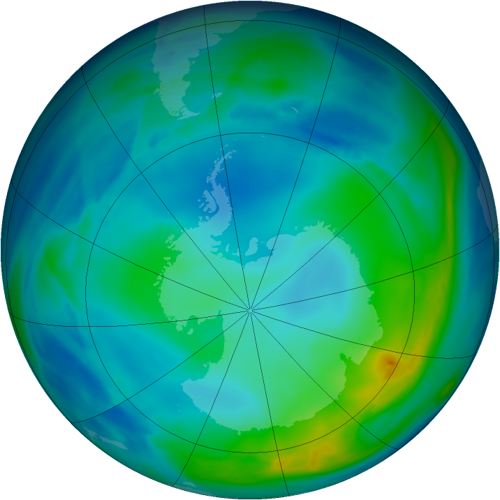 Antarctic ozone map for 22 May 2005