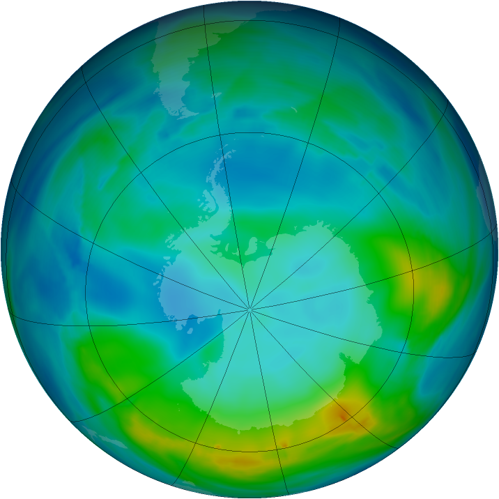 Antarctic ozone map for 24 May 2005