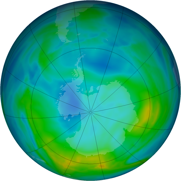 Antarctic ozone map for 25 May 2005