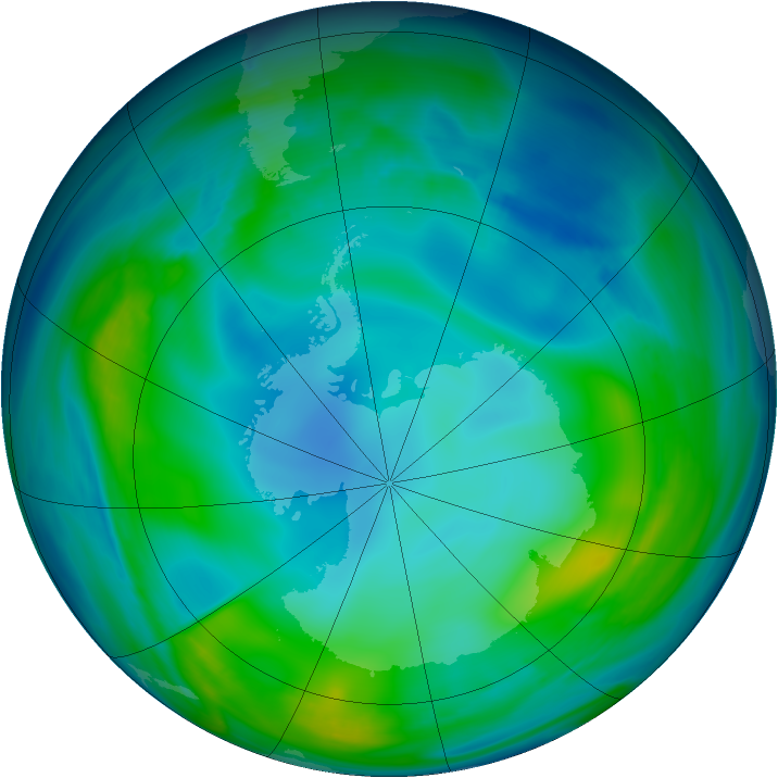 Antarctic ozone map for 26 May 2005