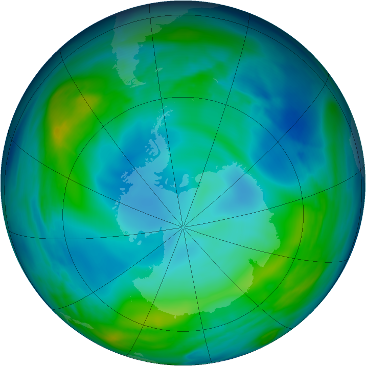 Antarctic ozone map for 27 May 2005