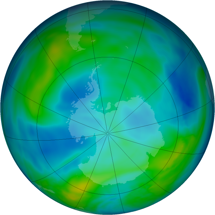 Antarctic ozone map for 28 May 2005