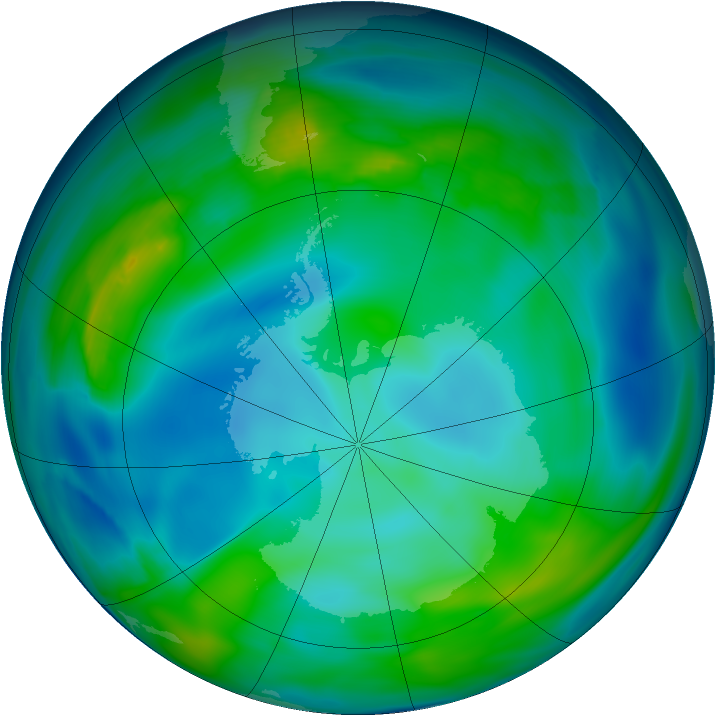 Antarctic ozone map for 29 May 2005