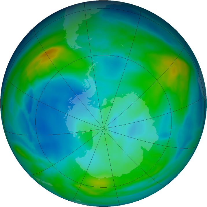 Antarctic ozone map for 31 May 2005
