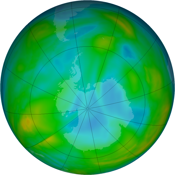 Antarctic ozone map for 01 July 2005