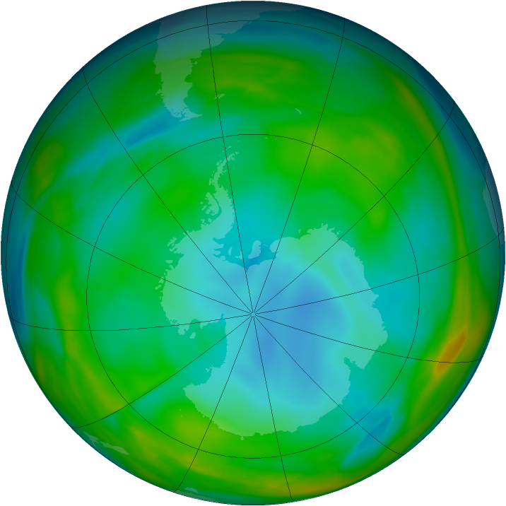 Antarctic ozone map for 03 July 2005