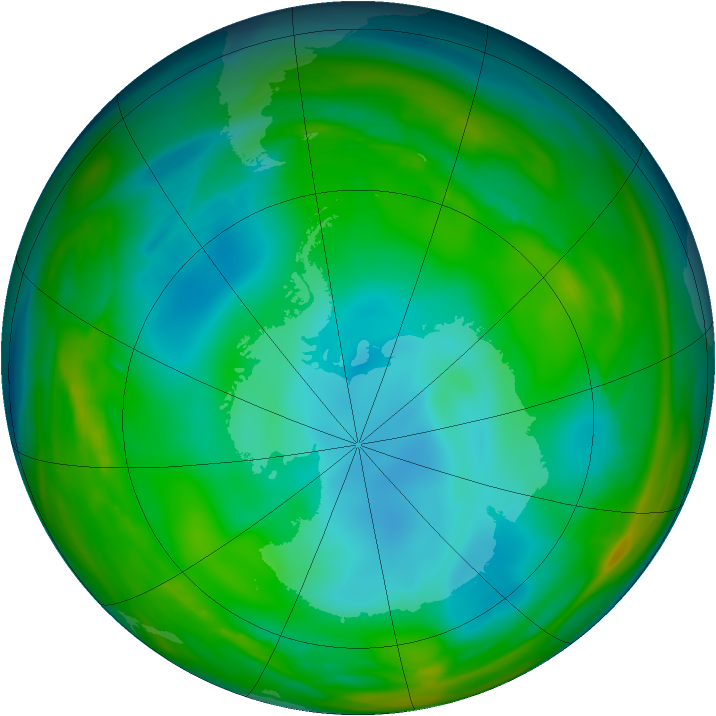 Antarctic ozone map for 04 July 2005
