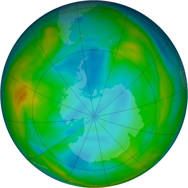 Antarctic ozone map for 07 July 2005