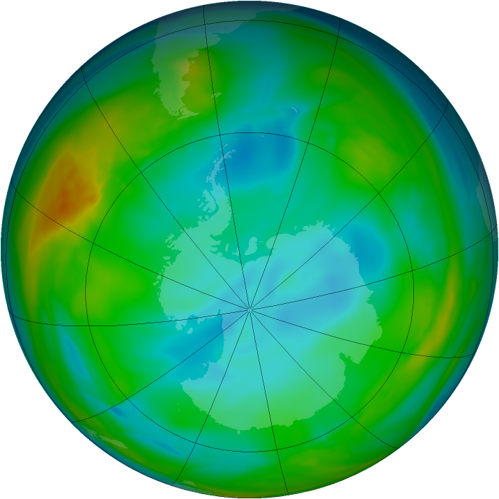 Antarctic ozone map for 08 July 2005