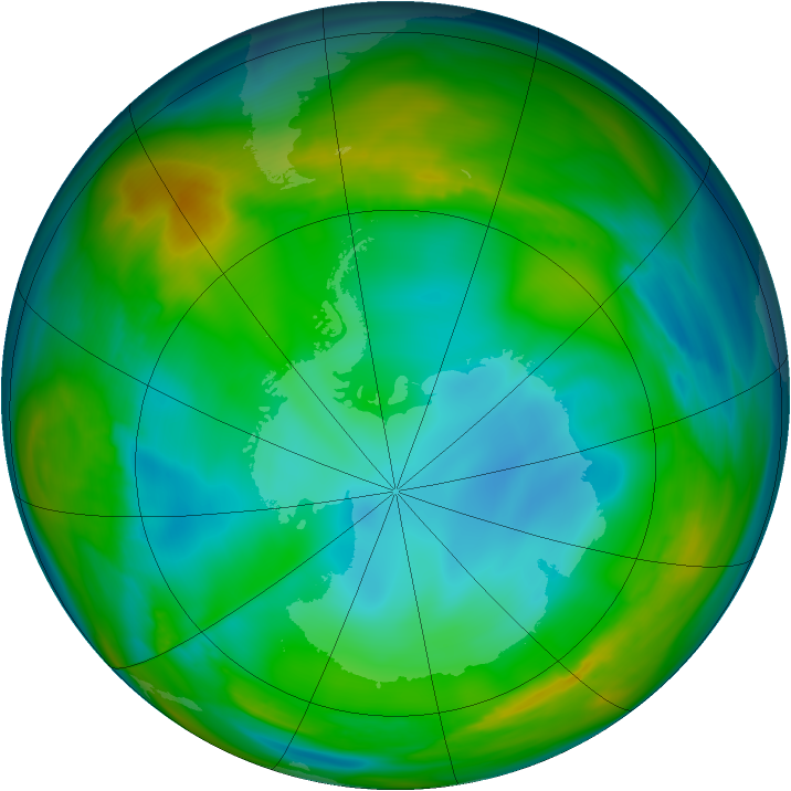 Antarctic ozone map for 11 July 2005