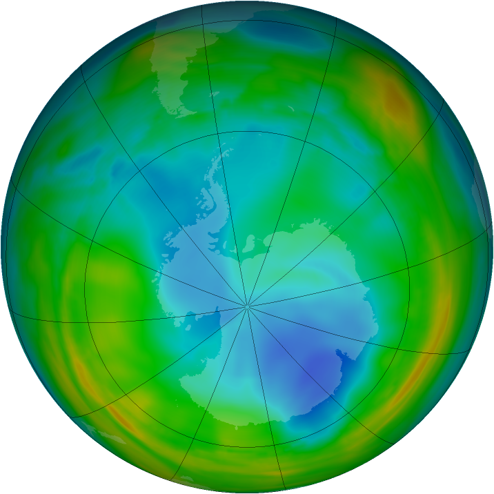 Antarctic ozone map for 15 July 2005