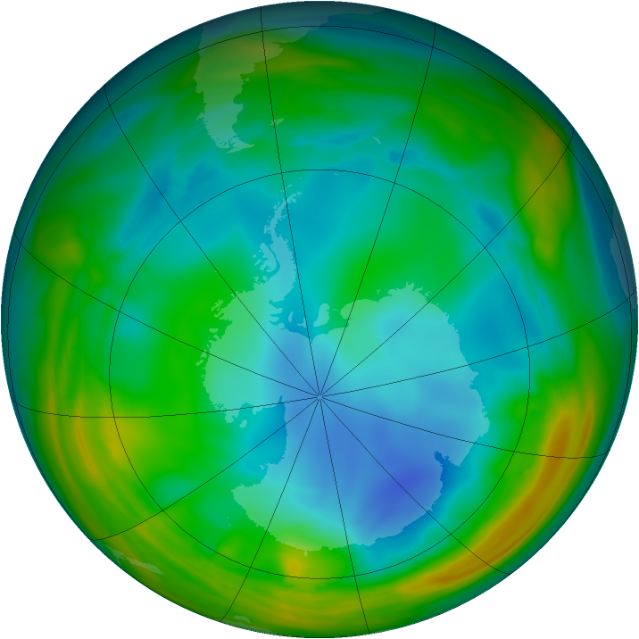 Antarctic ozone map for 16 July 2005