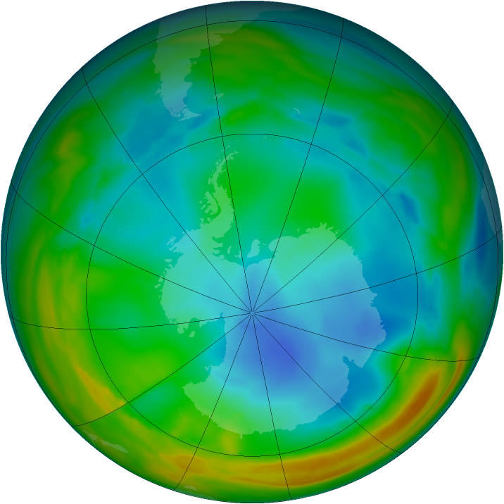 Antarctic ozone map for 17 July 2005
