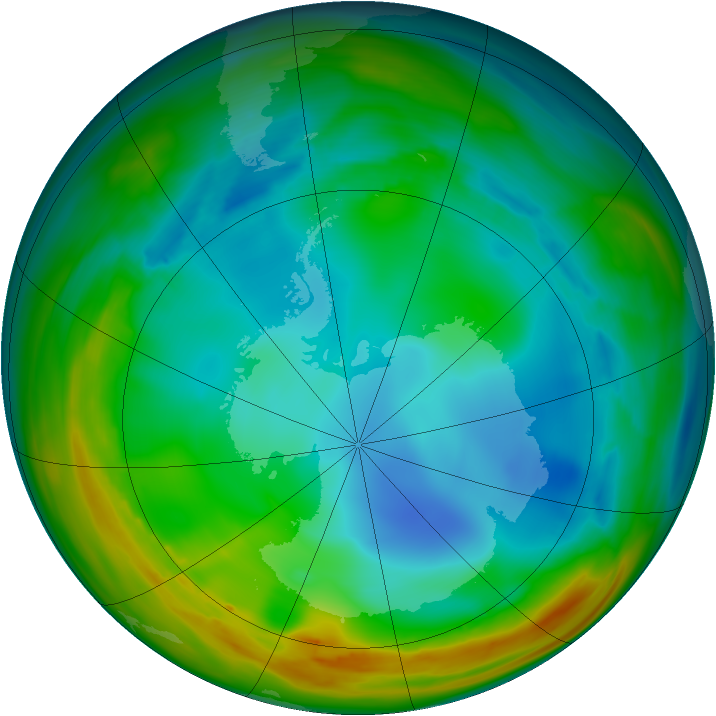 Antarctic ozone map for 18 July 2005