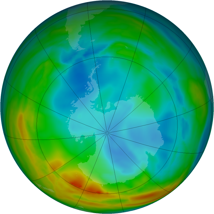 Antarctic ozone map for 19 July 2005